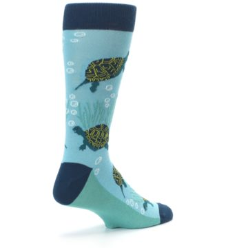 Image of Aqua Navy Turtles Men's Dress Socks (side-1-back-22)