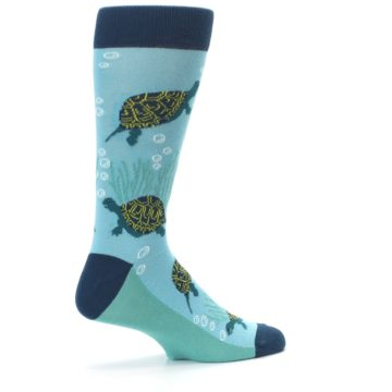 Image of Aqua Navy Turtles Men's Dress Socks (side-1-23)
