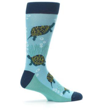 Image of Aqua Navy Turtles Men's Dress Socks (side-1-24)