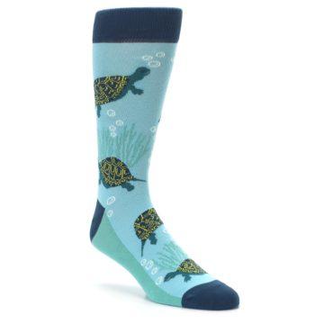Image of Aqua Navy Turtles Men's Dress Socks (side-1-27)