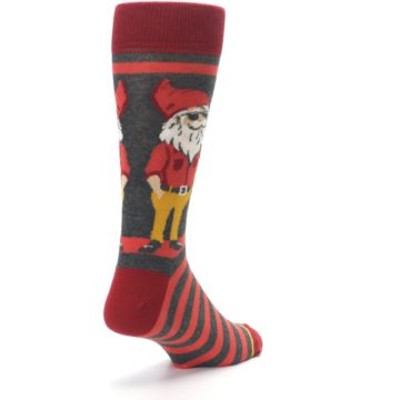 Image of Red Hipster Gnomes Men's Dress Socks (side-1-back-21)