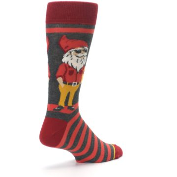 Image of Red Hipster Gnomes Men's Dress Socks (side-1-back-22)