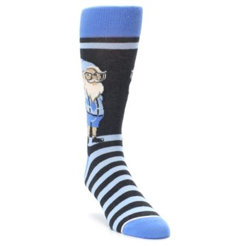 Image of Blue Nerdy Gnome Men's Dress Socks (side-1-front-02)