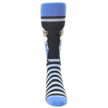 Image of Blue Nerdy Gnome Men's Dress Socks (front-04)