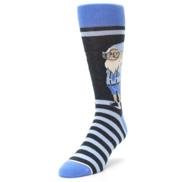 Image of Blue Nerdy Gnome Men's Dress Socks (side-2-front-07)