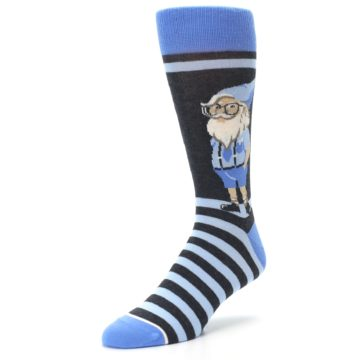 Image of Blue Nerdy Gnome Men's Dress Socks (side-2-front-08)