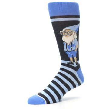 Image of Blue Nerdy Gnome Men's Dress Socks (side-2-09)