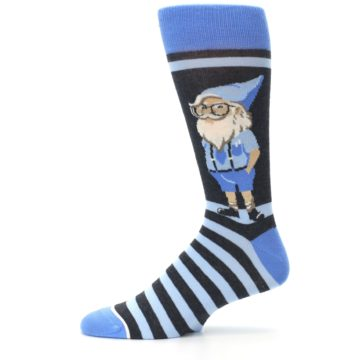 Image of Blue Nerdy Gnome Men's Dress Socks (side-2-11)