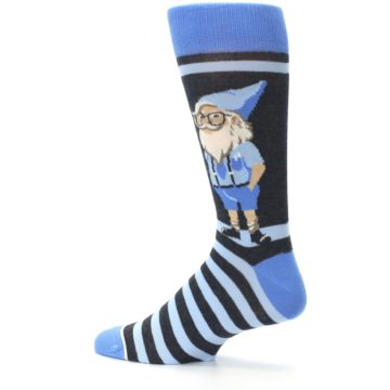 Image of Blue Nerdy Gnome Men's Dress Socks (side-2-13)