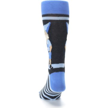 Image of Blue Nerdy Gnome Men's Dress Socks (back-17)