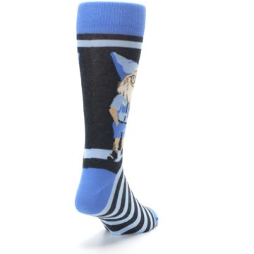 Image of Blue Nerdy Gnome Men's Dress Socks (side-1-back-20)