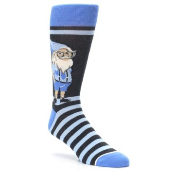 Image of Blue Nerdy Gnome Men's Dress Socks (side-1-27)