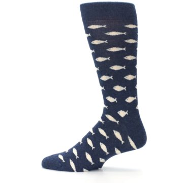 Image of Navy Cream School of Fish Men's Dress Socks (side-2-12)
