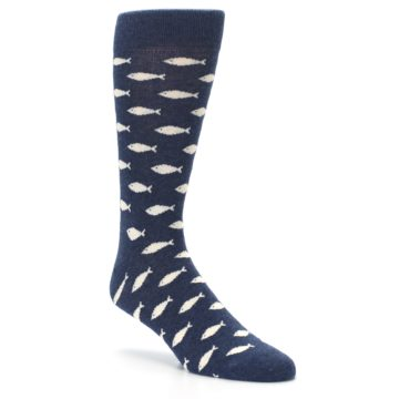 Image of Navy Cream School of Fish Men's Dress Socks (side-1-27)