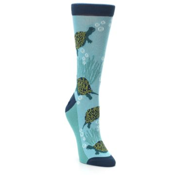Image of Aqua Navy Turtles Women's Dress Socks (side-1-front-02)