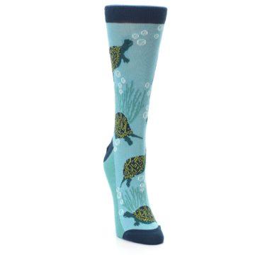 Image of Aqua Navy Turtles Women's Dress Socks (side-1-front-03)