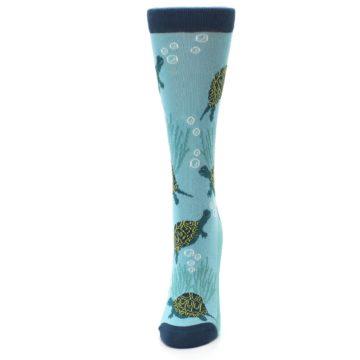 Image of Aqua Navy Turtles Women's Dress Socks (side-2-front-06)