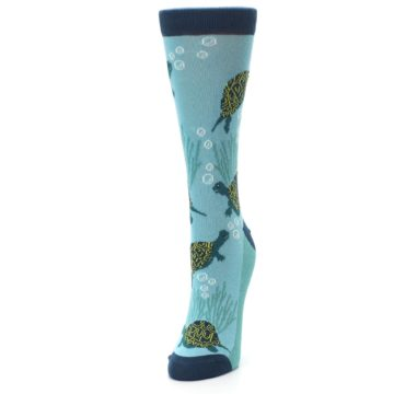 Image of Aqua Navy Turtles Women's Dress Socks (side-2-front-07)