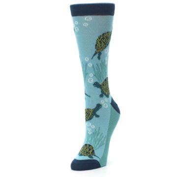 Image of Aqua Navy Turtles Women's Dress Socks (side-2-front-08)