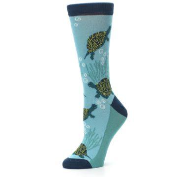 Image of Aqua Navy Turtles Women's Dress Socks (side-2-10)