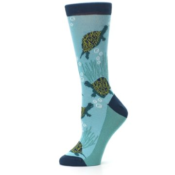 Image of Aqua Navy Turtles Women's Dress Socks (side-2-11)