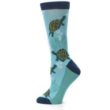 Image of Aqua Navy Turtles Women's Dress Socks (side-2-12)