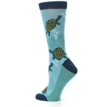 Image of Aqua Navy Turtles Women's Dress Socks (side-2-13)