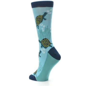 Image of Aqua Navy Turtles Women's Dress Socks (side-2-back-14)