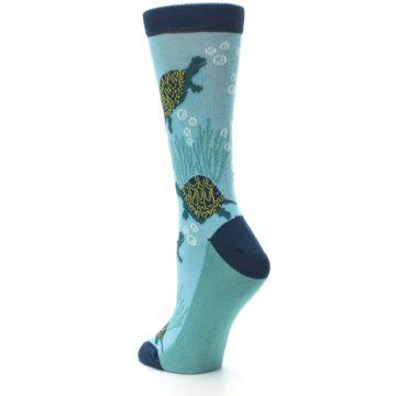 Image of Aqua Navy Turtles Women's Dress Socks (side-2-back-15)