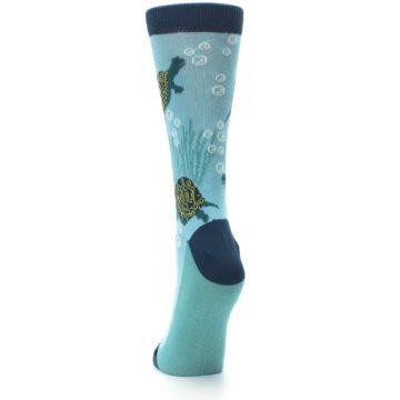 Image of Aqua Navy Turtles Women's Dress Socks (back-17)