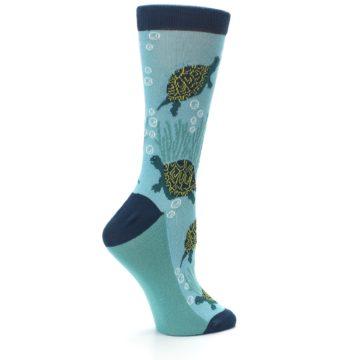Image of Aqua Navy Turtles Women's Dress Socks (side-1-24)