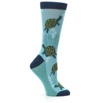 Image of Aqua Navy Turtles Women's Dress Socks (side-1-25)