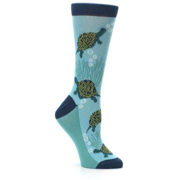 Image of Aqua Navy Turtles Women's Dress Socks (side-1-26)