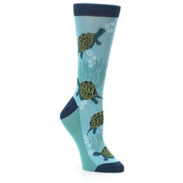 Image of Aqua Navy Turtles Women's Dress Socks (side-1-27)
