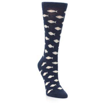 Image of Navy Cream School of Fish Women's Dress Socks (side-1-front-02)