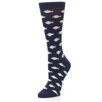 Image of Navy Cream School of Fish Women's Dress Socks (side-2-09)