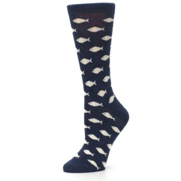 Image of Navy Cream School of Fish Women's Dress Socks (side-2-10)