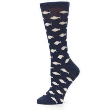 Image of Navy Cream School of Fish Women's Dress Socks (side-2-11)