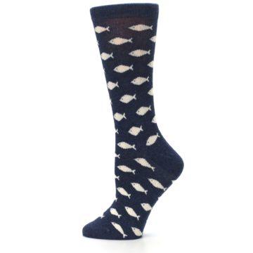 Image of Navy Cream School of Fish Women's Dress Socks (side-2-12)