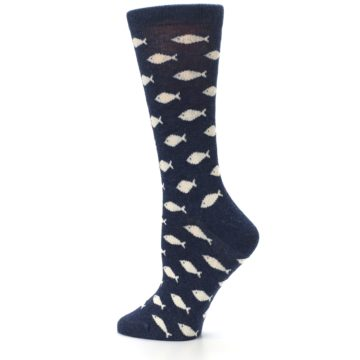 Image of Navy Cream School of Fish Women's Dress Socks (side-2-13)