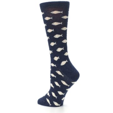 Image of Navy Cream School of Fish Women's Dress Socks (side-2-back-14)