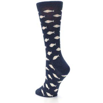 Image of Navy Cream School of Fish Women's Dress Socks (side-2-back-15)