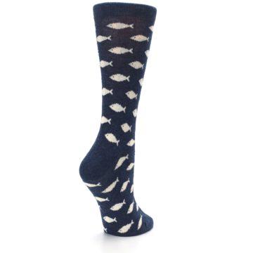 Image of Navy Cream School of Fish Women's Dress Socks (side-1-back-22)