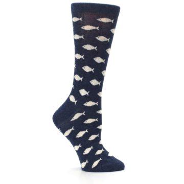 Image of Navy Cream School of Fish Women's Dress Socks (side-1-25)