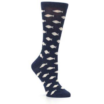 Image of Navy Cream School of Fish Women's Dress Socks (side-1-26)