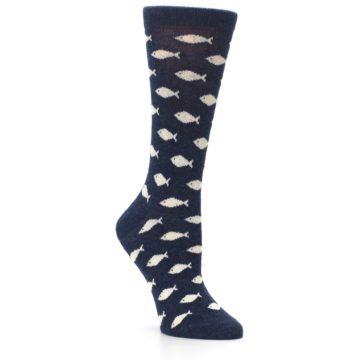 Image of Navy Cream School of Fish Women's Dress Socks (side-1-27)