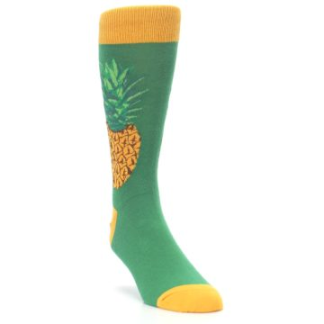Image of Green Yellow Pineapple Men's Dress Socks (side-1-front-02)