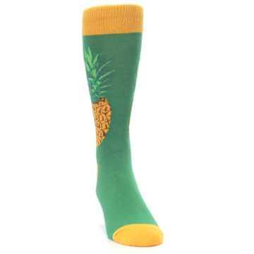 Image of Green Yellow Pineapple Men's Dress Socks (side-1-front-03)