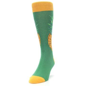 Image of Green Yellow Pineapple Men's Dress Socks (side-2-front-06)