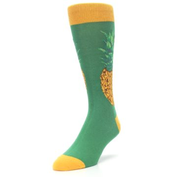 Image of Green Yellow Pineapple Men's Dress Socks (side-2-front-07)
